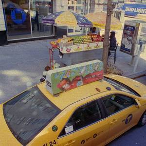 Yellow Cab and Fruit Seller | Zeiss Jena 24mm f2.8  <br> Click image for more details, Click <b>X</b> on top right of image to close