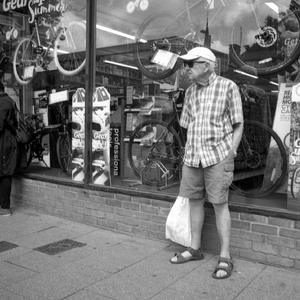 Man in Shorts | Pentax 24mm f3.5 SMC Takumar <br> Click image for more details, Click <b>X</b> on top right of image to close