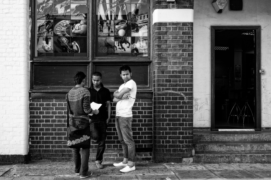Docklands Young Men-B&W | Zeiss Zeiss Sonnar T* 35mm f2 <br> Click image for more details, Click <b>X</b> on top right of image to close
